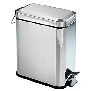 Wenko Cubo de Pedal Rectangular 5 LTS Brillo sellado, Stainless_Steel, Silver, 28 x 14 x 29.5 cm