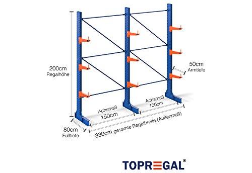 Kragarmregal einseitig, Komplettregal B:3.300 x H:2.000 x T:800 mm, 3 Ebenen, 4.500kg max Trgf.
