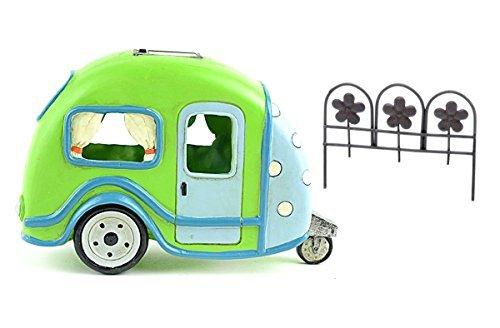 DIY-Miniatur Garten Kit-Lime Grün Solar Camper Trailer und rostigen Farbige Zaun für Verwendung in Fairy oder Gnome Garden -