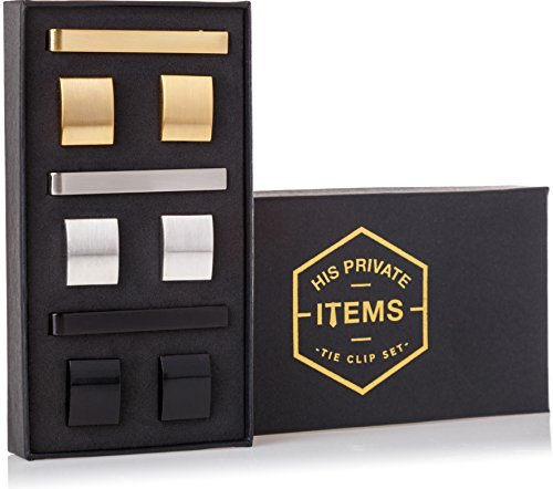 Cufflinks and Tie Clip Set – 3 Couples – Gold Silver Black – Gift Box