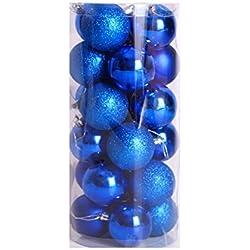 Dax - Confezione di palle di Natale infrangibili lucide, diametro 6 cm, confezione da 24 pezzi Oro blu