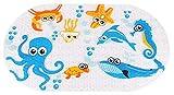 Ksnrang Badewannenmatte Kinder Rutschfest, Badewanneneinlage für die Badewanne antibakteriell latexfrei, extra lang Baby Anti-Rutsch BadematteRutschfeste Duschmatte(Tintenfisch,69 x 39 cm)