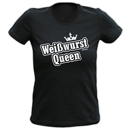 Weißwurst Queen : Girlie Fun T-Shirt mit trendigem Spruch, Motiv. Für Geburtstag, Event oder Party.Bayern,Dirndl,Tracht Schwarz
