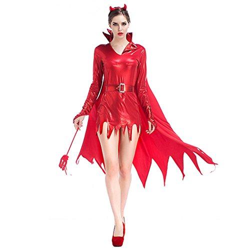 Kostüme Wench Sexy Serving (Frauen Sexy Little Devil Gold Stamping Halloween Kostüm)