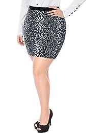 Sourcingmap Agnes Orinda Women's Plus Size Leopard Prints Elastic Waist Pencil Skirt