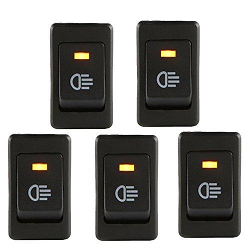 E Support™ 5 X KFZ Auto Boot Kippschalter Druckschalter Schalter 12V Gelb LED Licht Nebelscheinwerfer -