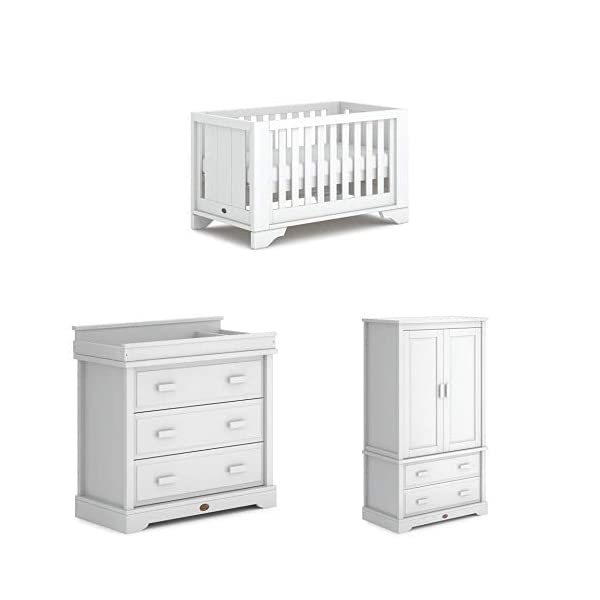 Boori Eton Expandable 3 Piece Nursery Room Set, Wood, Barley White Boori Boori 3 piece nursery furniture set including the Eton Expandable Cot Bed with single bed conversion, 3 Drawer Dresser with removable changing station and Wardrobe Cot bed made with 100% sustainable solid wood, dresser and wardrobe made with sustainable solid wood parts All Boori cot beds convert to a toddler bed suitable from birth to 5 years(Toddler Guard Panel available separately). The Eton Expandable Cot Bed also transforms into a full adult-sized single bed(Conversion kit included) 1