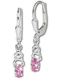 SilberDream Boucles d'oreilles - boucles d'oreilles petit fleur zircon rose - argent sterling 925 pour femme - SDO535A