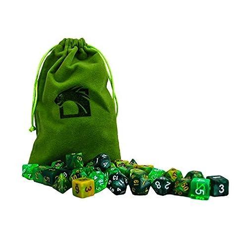 Elemental Forest Dragon Dice Set Includes 5 Unique Polyhedral 7-Die