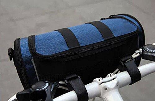 Dual-use -Paket Fahrradtasche tragbar Fahrrad Lenkertasche Umhängetasche Multifunktions Hüfttasche Vorderseite Tube Korb Tasche Bag mit abnehmbarem Schultergurt Blau