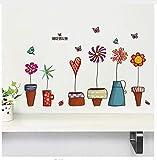 Neueste Coloful Korea Stil Blumentöpfe Pflanze Flora Schmetterling Hause Mädchen Abziehbild Wandaufkleber Kinderzimmer Dekor Geschenke Aufkleber
