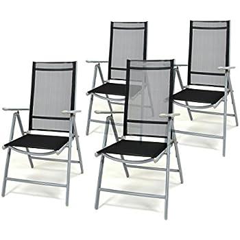 4er Set Klappstuhl Schwarz Aluminium 7 Fach Verstellbar Gartenstuhl  Hochlehner Mit Armlehne Witterungsbeständig Leicht Stabil Rahmen Silber  Balkon Terrasse