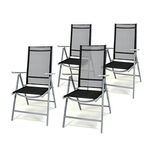 4er Set Klappstuhl Schwarz Aluminium 7 Fach Verstellbar Gartenstuhl  Hochlehner Mit Armlehne Witterungsbeständig Leicht