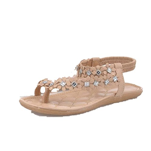 Vovotrade® Frauen-Sommer-Böhmen-Blumen-Korn Flip-Flop-Schuhe Flache Sandalen (EU Size:39, Khaki) -