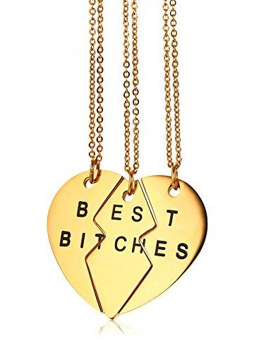 Vnox 3 Stücke Edelstahl gebrochenes Herz Puzzlespiel BESTE BITCHES gravierte beste Freund hängende Halskette für 3 Gold