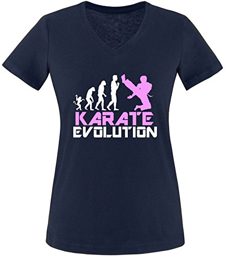 EZYshirt® Karate Evolution Damen V-Neck T-Shirt Navy/Weiss/Rosa