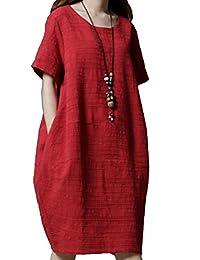 best loved a0751 eb5c6 Vestito in lino - Donna: Abbigliamento - Amazon.it