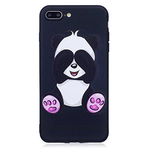 MAGQI Custodia Per Apple iPhone 7 Plus 5.5,Morbido UltraSottili Antigraffio Ammortizzante Antiurto Durevole Copertura Gel TPU Animale Modello 3D Cartoon Gomma Paraurti Conchiglia Semplice Silicone Pel Big Panda