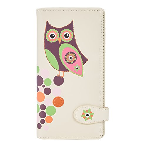 Shagwear Junge-Damen Geldbörse , Large Purse: (Eule Beige/ Retro Owl)