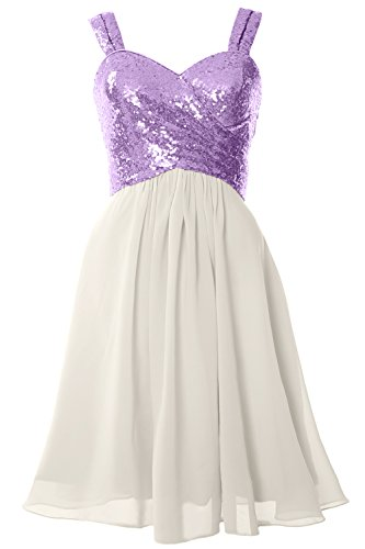 MACloth Gorgeous Sequin Short Bridesmaid Dress Cowl Back Cocktail Formal Gown Lavender-Ivory