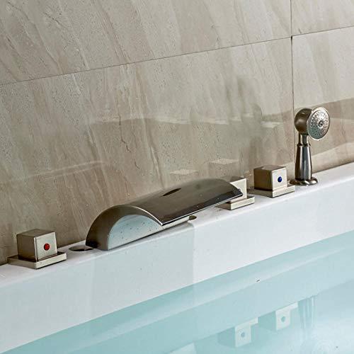 Küchenarmaturen Waschbecken Wasserhahn Gebürstetes Nickel-Badezimmer 5pcs Wannen-Hahn drei behandelt Mischbatterie mit Handshower -