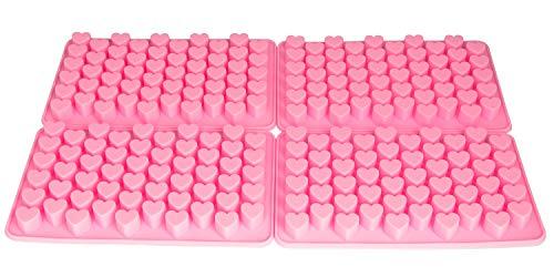 BlueFox 4er Set Herz Silikonform kleine Herzchen Silikon Form Praline Eiswürfel Gießform Herzform Fondant Pralinenformer Heart Liebe Gelee, Farbe: Pink -