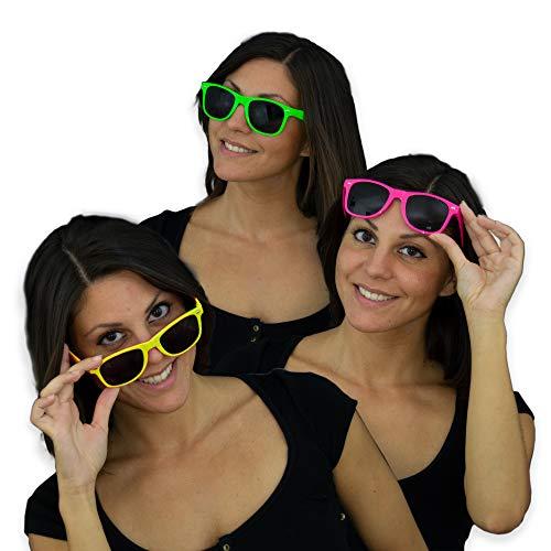 Eventlights NEON Party Sonnenbrillen - 3 Stück Set - Leuchten im Schwarzlicht - UV aktiv - grün, pink, gelb