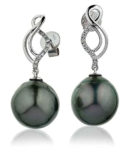0.12CT Certified G/VS2 Baroque Taihitian Pearl Stud Earrings with Round Brillaint Set Diamonds Twisted Shape in 18K White Gold