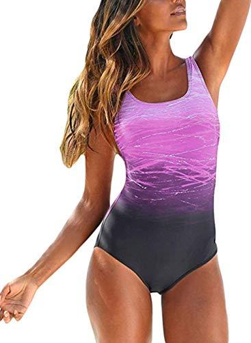 Aleumdr Badeanzug Damen Badeamode große größe Push up Strandmode Damen sexy Rückenfrei Bedruckt L