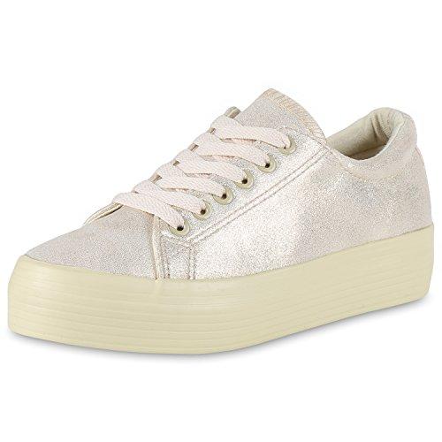 Damen Plateau Sneakers 90s Style Sportschuhe Freizeit Schuhe Creme Creme