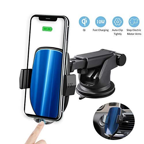 Zeonetak Wireless Charger für Auto, 10W Qi KFZ Schnelle Kabellose Ladegeräte Automatische Handyhalterung mit Lüftung & Saugnapfshalter für iPhone XS/XS Max/XR/X/8, Galaxy S9/S9+/S8/S8p/Note 8 (Entsperren Sie Samsung Galaxy S6)
