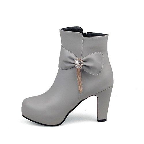 AllhqFashion Damen Niedrig-Spitze Hoher Absatz Rein Stiefel mit Beschlagene Strass Grau