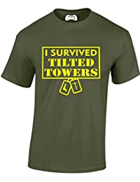 Taurus New Adults and Childs 'I Survived Tilted Towers' Fortnite Inspired Gamers Gaming T Shirt PS4 Xbox PC