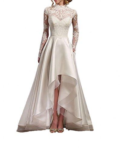 La_Marie Braut Elfenbein Spitze Langarm Hi-lo Hochzeitskleider Vintag Brautkleider Brautmode A-Linie Rock-42 Elfenbein (Weißes High Brautkleid Low)