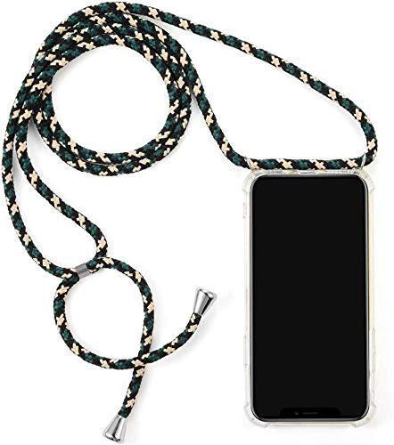 Herbests Kompatibel mit Samsung Galaxy A8 Plus 2018 Handykette Hülle mit Umhängeband Durchsichtig Necklace Hülle mit Kordel zum Umhängen Schutzhülle Silikon Handyhülle Kordel Schnur Case,Grün Beige