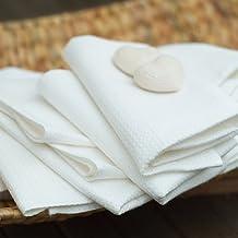 Toalla de baño de lino y algodón. Estampado de cuadros. Color blanco. LinenMe