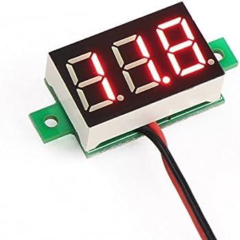 """DROK® 2 Wires 0.36"""" DC Digital Voltmeter 2.5~30V Red LED Display Panel Volt Meter 12/24V Voltage Battery Tester for Car/Motorcycle"""