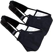 Xtore N-95 Cotton Washable Mask -(Ebony Black, Without Valve, Pack of 2 mask, 4 Filter & 2 Head Band, FDA