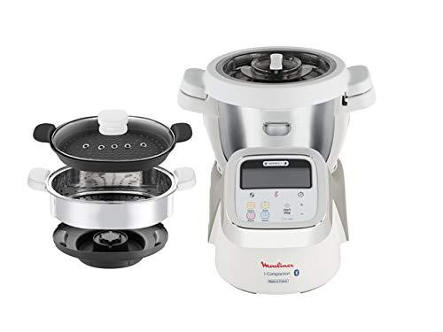 Moulinex i-Companion HF900110 - Robot de cocina Bluetooth 13 programas, hasta 6 personas, incluye cuchilla picadora, batidor, mezclador, amasador, triturador y cesta de vapor, Acc. cortador + vapor