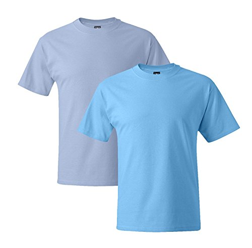 Hanes Mens 5180 Short Sleeve Beefy T 1 Aquatic Blue / 1 Light Blue