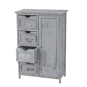 mendler kommode schrank 82x55x30cm shabby look vintage grau k che haushalt. Black Bedroom Furniture Sets. Home Design Ideas