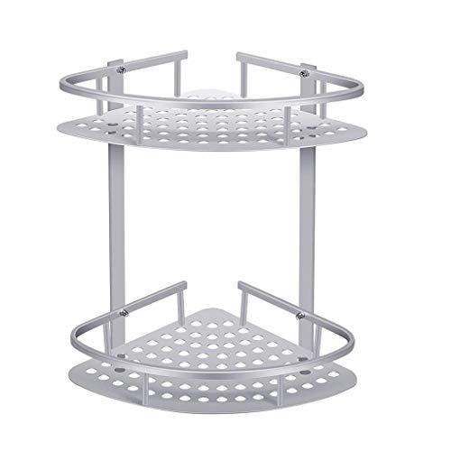 Xjyj Inoxidable y Resistente a la corrosión.–la aleación de Aluminio anodizado Ducha rinconera de 2Pisos Aluminio baño Ducha Pared estantería de Ducha sin taladrar/Dos métodos de instalación