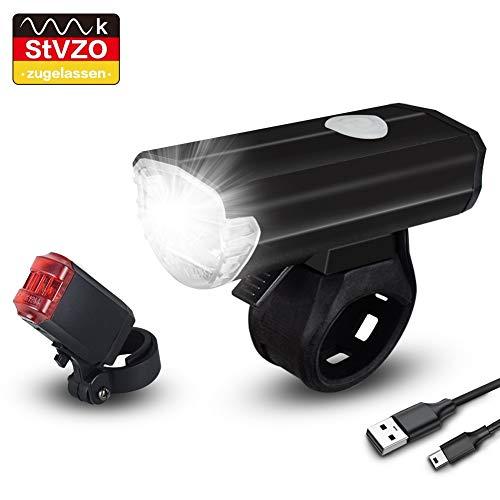 Opard Fahrradlicht Set, StVZO Zugelassen,LED Fahrradbeleuchtung Set, USB aufladbar, LED Fahrradlampe,Fahrradlicht LED, Rücklicht und Frontlicht, Fahrradlichter Kinder mit Li-ion Akku