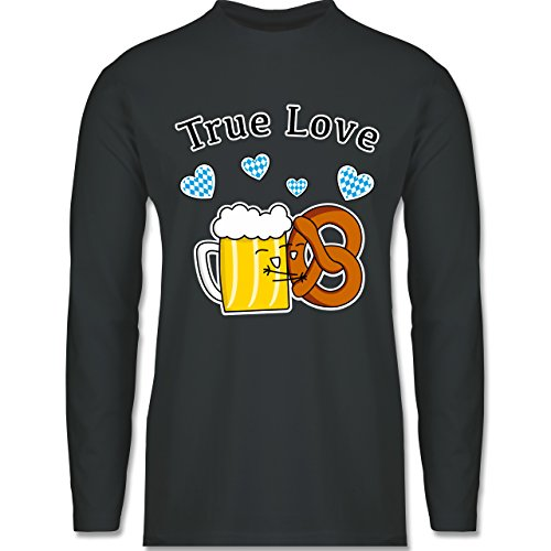 Shirtracer Oktoberfest Herren - True Love- Bier und Breze - Herren Langarmshirt Dunkelgrau