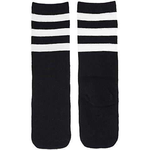 zando Niñas Algodón Casual Por Encima De La Rodilla Muslo Alto Triple rayas calcetines de tubo