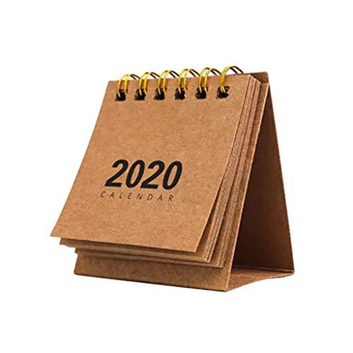 Strungten Calendrier de bureau 2020 mois Calendrier de bureau Mini calendrier d'école Bureau Stand Up Chevalet Calendrier Flip Calendrier pour table 3 x 3,7 cm kaki