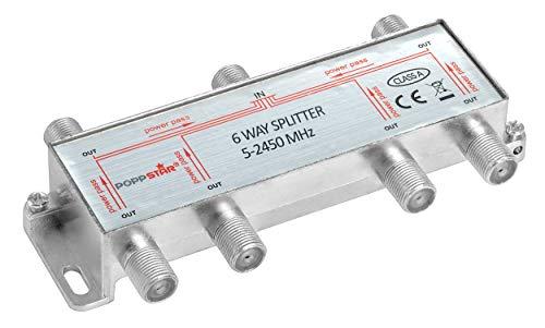 Poppstar Sat-Verteiler Antennenverteiler Splitter Umschalter 6-Fach (analog/digital/BK/unicable/HD/4K tauglich) für TV,Antenne,Satellit,Kabel,Fernseher,Radio,LNB