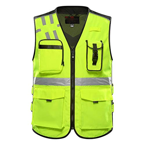 LQ Sicherheitsweste, Warnweste, Mehrfachtasche, Radfahren, Nachtarbeit, Weste, Gelb Sicherheitswesten (Size : XXL) -