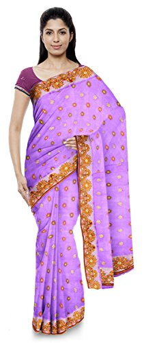 Neelam Sarees Women's Pure Banarasi Silk Saree (Purple)
