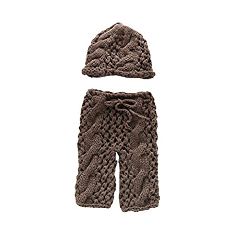 Zhhlaixing Infant Newborn Baby Costume Crochet Knit Hat Pants Photography Props Outfits XDT-362